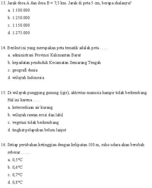 Soal Geografi SMP 4