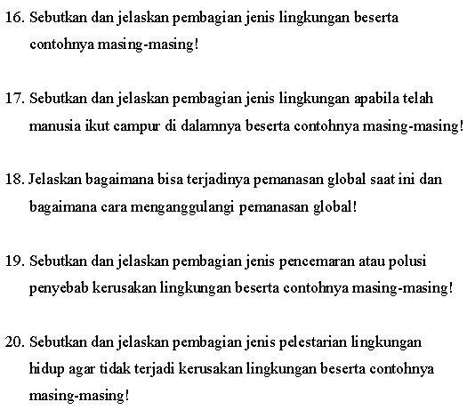 contoh soal geografi essay berstruktur